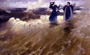 man and woman sea waves